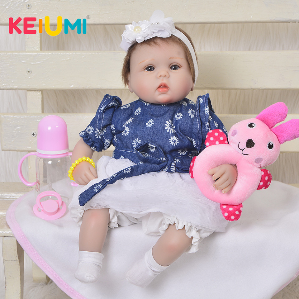 Personnalisé 43 cm Reborn bébé poupée en Silicone souple bébé réaliste 17 pouces enfants Playmate cadeau pour fille bébé jouets tissu corps bébé Reborn