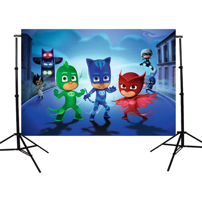 Vinyl Cloth Children PJmasks Children Birthday Party Custom Photo Studio Backdrop Background 150cm X 200cm