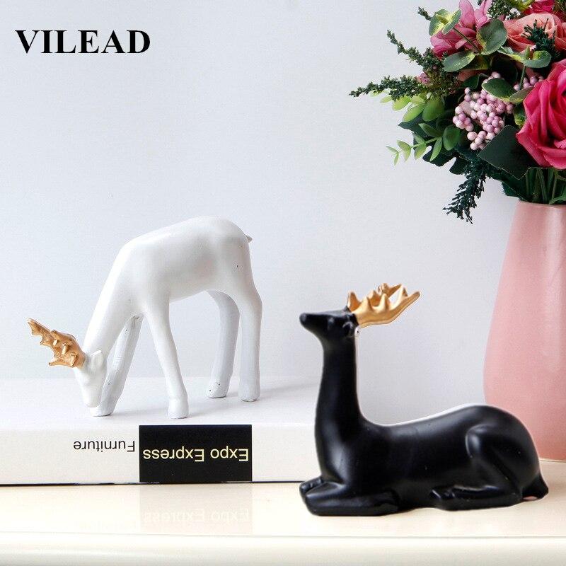 VILEAD 2 Color Resin Reindeer Figurines Modern Animal Deer Model Elk Ornament for Vintage Home Decor Creative Souvenirs Gifts
