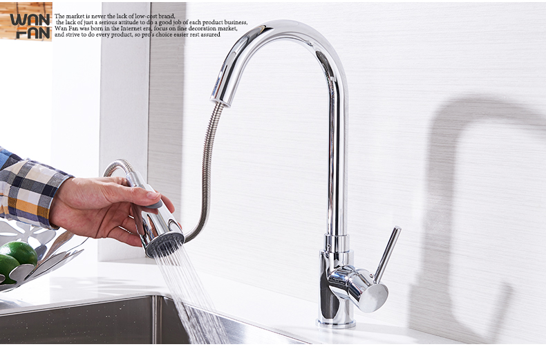 Kitchen Faucets Silver Single Handle Pull Out Kitchen Tap Single Hole Handle Swivel 360 Degree Water Mixer Tap Mixer Tap 408906 11