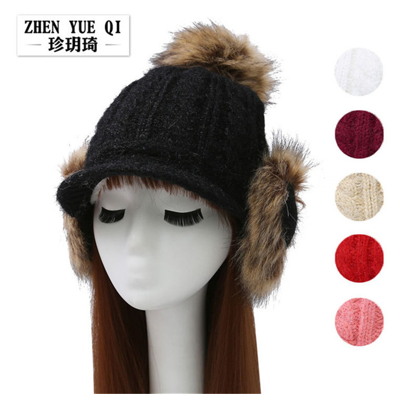 Fashion Thick winter hat for women wool knitted beanies warm earmuffs pom poms skullies hat girls Caps fur handmade knitted cap plus poms winter hats for women thick warm skullies