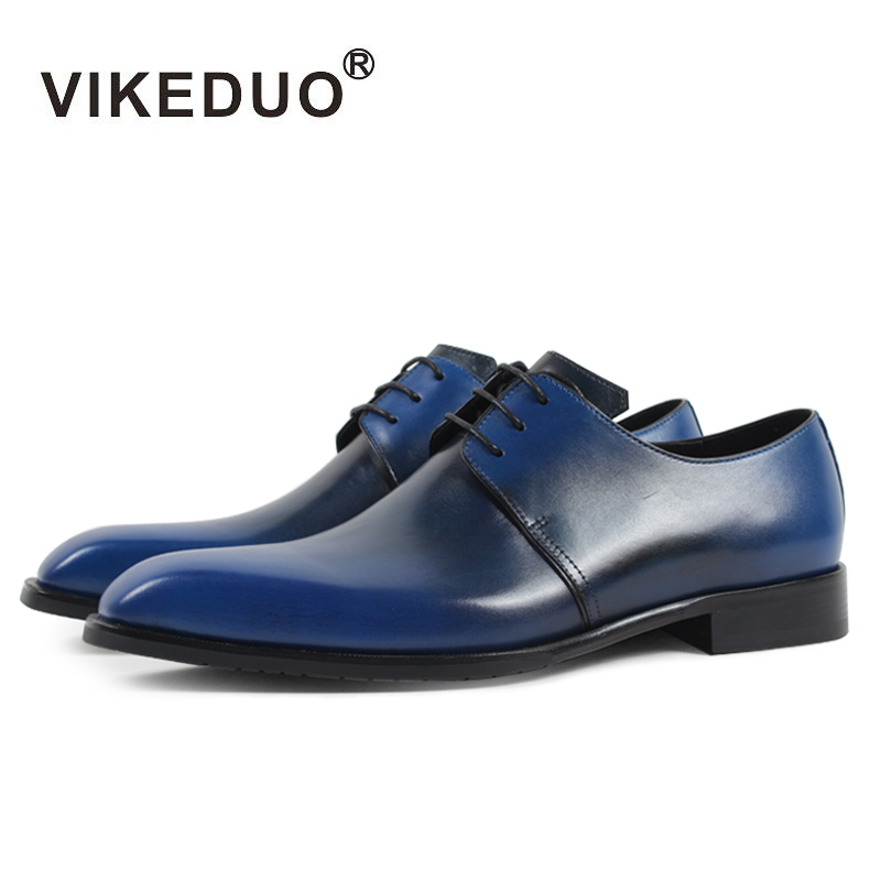 VIKEDUO Brand 2017 Newest Vintage Men Shoes Bandmade Italy Royal Blue Derby Man Footwear Party Wedding Dress Shoes Real Leather