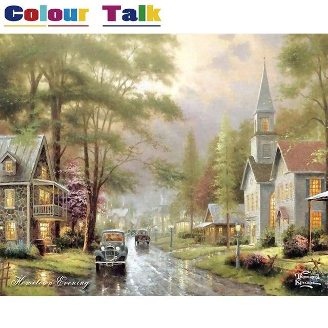 Картина по номерам DIY на холсте живопись каллиграфия пейзаж масляная Раскраска по номерам картины обои маленький город P-0032