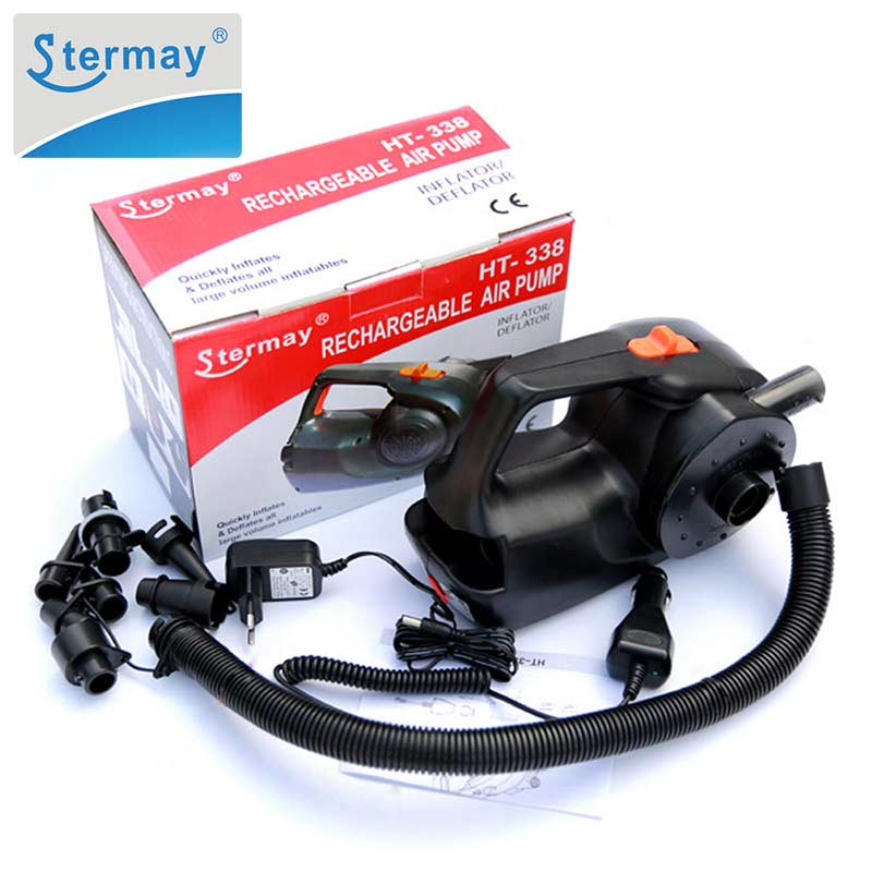 Stermay HT-338 Rechargeable Pump Electric Inflatable Air Pump For Inflatable Boat Kayak Air Bed Mattress High Power AC/car 12V(China)