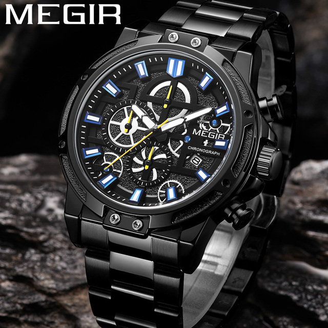 MEGIR Mannen Kijken Topmerk Luxe Chronograph Horloge Datum Militaire Sport Rvs Business Classic Nieuwe Mannelijke Klok 2108