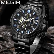 MEGIR Men Watch Top Brand Luxury Chronograph Wristwatch Date Military Sport Stainless Steel Business Classic New Male Clock 2108