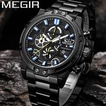 MEGIR montre bracelet de luxe pour hommes, chronographe, Date, militaire, Sport, acier inoxydable, Business classique, nouvelle horloge, 2108
