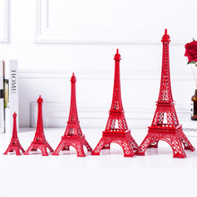 Cake Topper Eiffel Tower Decor Fem storlekar Pure Red Color Tower Non-Ferro Metallic Home Decoration Improvement Gift