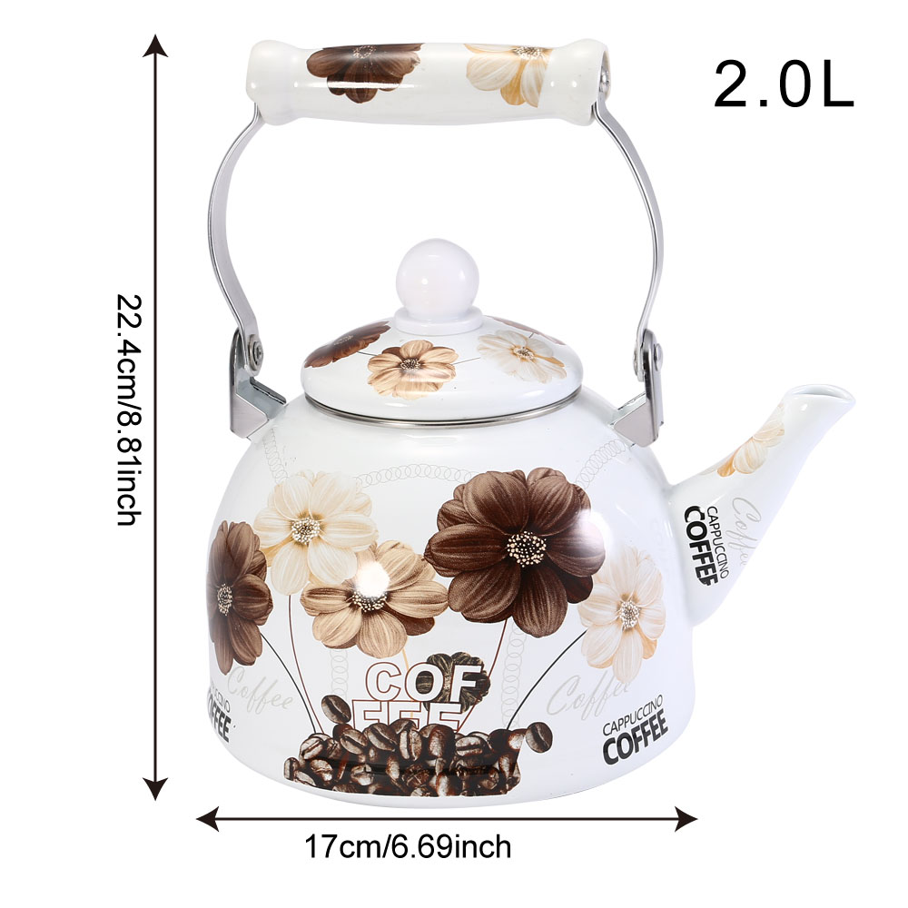2L Chinese Traditional Enamel Teapot Vintage Loose Leaf Tea Coffee Pot Kettle Enamel Coated Steel Vintage Style Teapot in Water Kettles from Home Garden