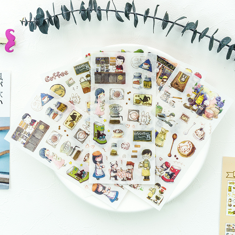 6 Sheets Warm Coffee Shop Decorative Washi Stickers Scrapbooking Stick Label Diary Stationery Album Stickers