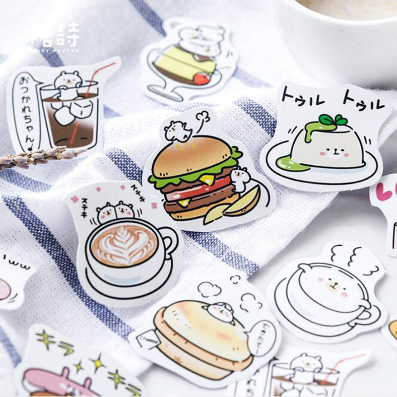 45pcs/pack Burger Totem Memo Stickers Pack Posted It Kawaii Planner Scrapbooking Stickers Stationery Escolar School Supplies