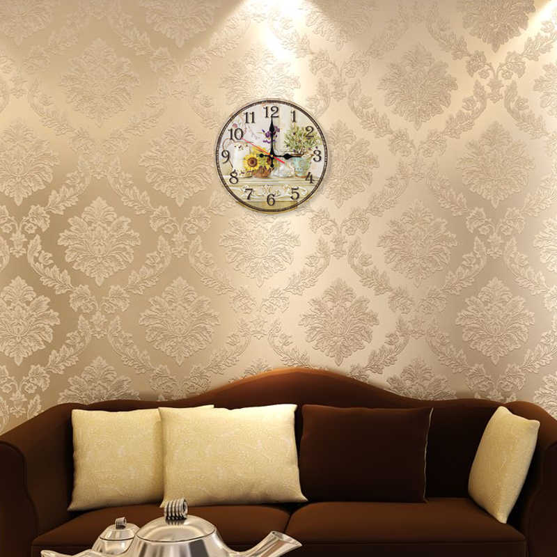 Новые креативные настенные часы деревянные часы домашний декор Кварцевые часы один Европейский диван фон лицо Цветочные наклейки
