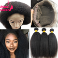 360 Lace Frontal Band With Bundles Kinky Straight Brazilian Virgin Hair Weave With Closure 360 Lace Frontal Closure With Bundles