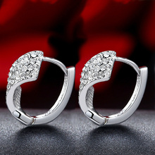 925 Sterling Silver Hoop Earrings For Women Real Pure Elegant Fine Jewelry Female Earring Lady Miss Mother Gift Party 2017 New