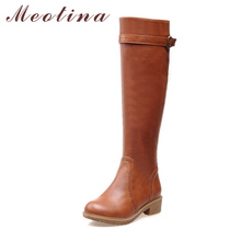 Meotina Women Riding Boots Round Toe Chunky Low Heel Motorcycle Boots Shoes Zip Fashion Buckle Women Boots Brpwn Big Size 9 10