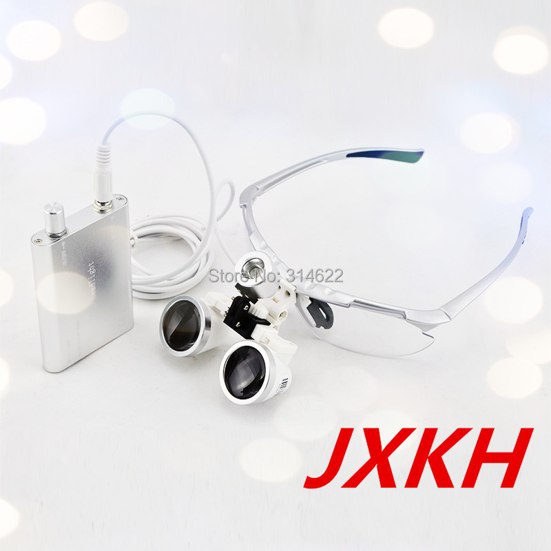 цены High Quality Silver magnifying glass 2.5X420 Medical Surgical loupes Dental Loupes medical loupes head loupes with LED light