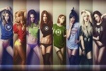 Marvel colorful superheroes panties T shirts women Ian Reyes Comics superheroes QR51 Room home wall art decor wood frame poster