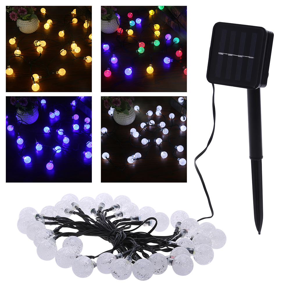 Solar Lights String 30 LED Bubble Beads String Lights for Xmas Garland Party Wedding Decoration Christmas Flasher Fairy Lights