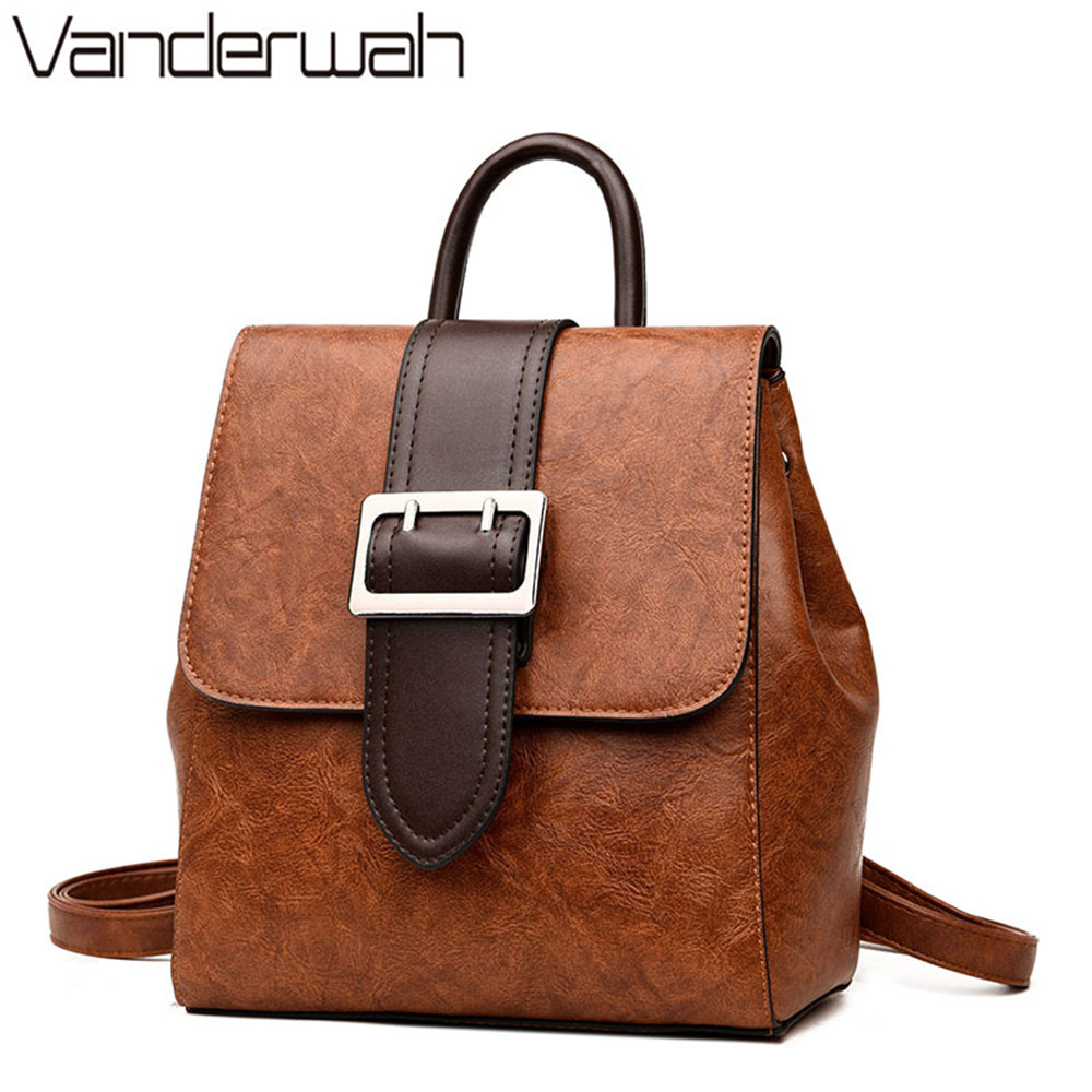 2018 Big belt Multifunction PU leather Backpack women backpacks for teenager girls vintage mochila feminina backpack sac a dos