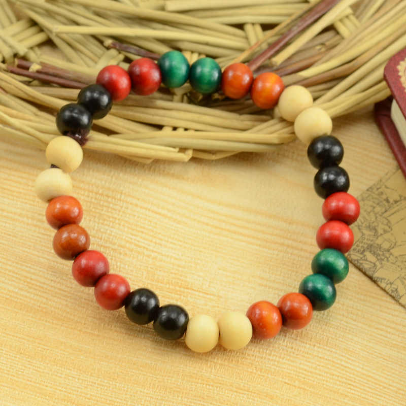 2018 novo estilo étnico série de cores de madeira grânulo elástico pulseira colo pequenas contas jóias especiais atacado para mulher e homem