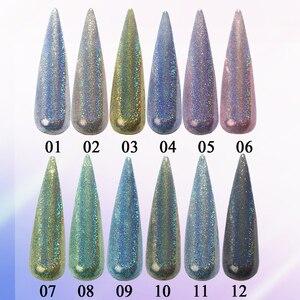 Image 2 - Olografica Laser Polvere di Scintillio Del Chiodo della Polvere del Pigmento Gradiente Effetto Specchio Unghie artistiche del Bicromato di potassio Paillettes Brillante Smalto Polvere CH1028