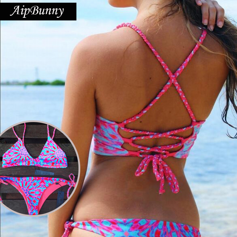 Sexy Floral Drawstring Swimwears Set Flower Swimsuit Women 2018 Swiming Bathing Suit Beach Wear Biquinis Mujer Bikini