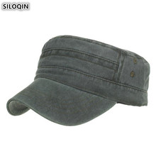 SILOQIN Adjustable Size Mens Flat Cap 100% Cotton Army Military Hats For Adult Men Washed Cloth Plate NEW Retro Panama Dad Hat
