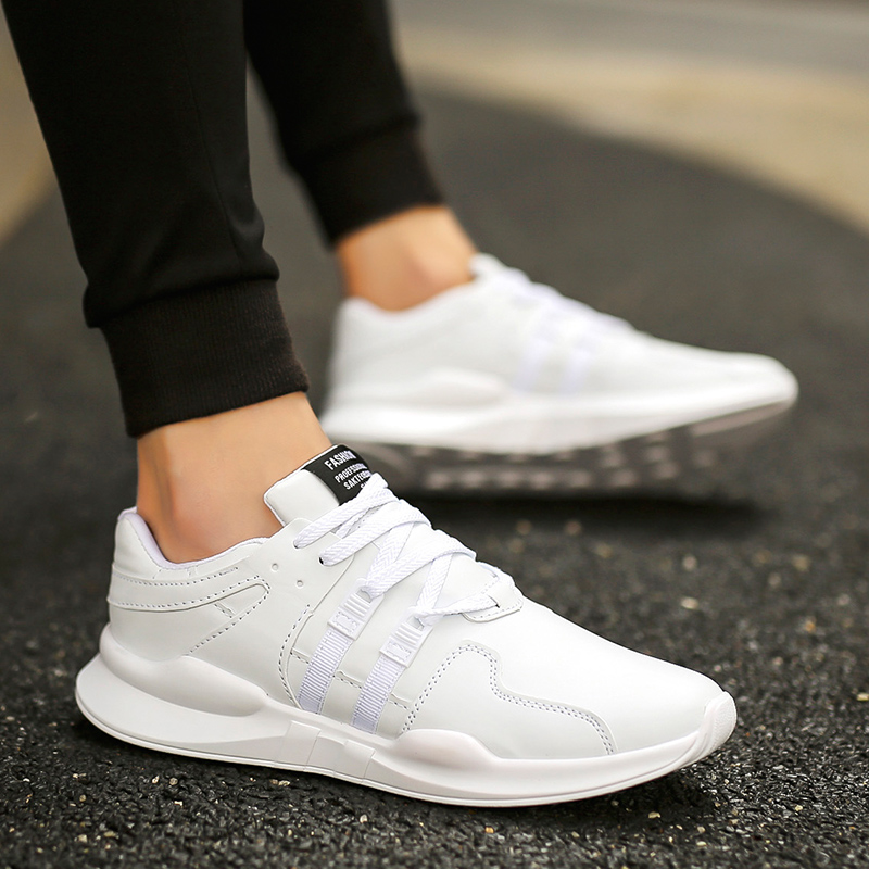 SUROM Leather Casual Shoes Men Sneakers White Lace Up Comfortable Breathable Sneakers Fashion Outdoor Walking Shoes Lightweight