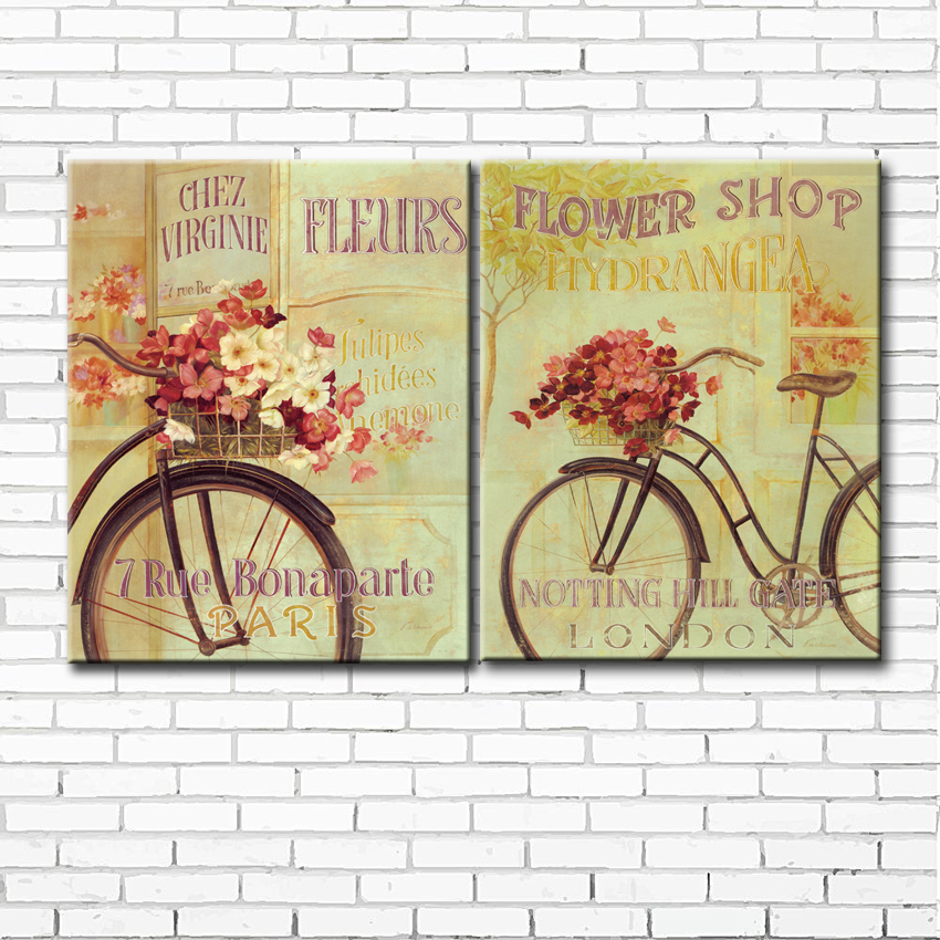 ₩pastoral bicycle flower scenery canvas printings oil painting ...