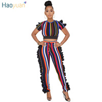 HAOYUAN Ruffle Striped Two Piece Set Women Tracksuits Summer Short Sleeve Sexy Top and Pants Track Suit Casual 2 Piece Outfits