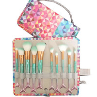 7pcs 10ppcs Set Makeup Brushes Pro Mermaid Maquiagem Beauty Tools With Pincel Maquiagem Bag