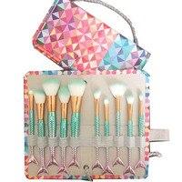 7pcs 10ppcs Set Makeup Brushes Pro Mermaid Maquiagem Beauty Tools With Pincel Maquiagem Bag