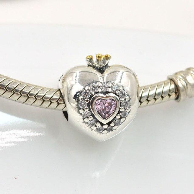 Original 925 Sterling Silver Beads Crystal Heart Princess Charm Fits Pandora Charms Bracelet Diy Women Bracelets