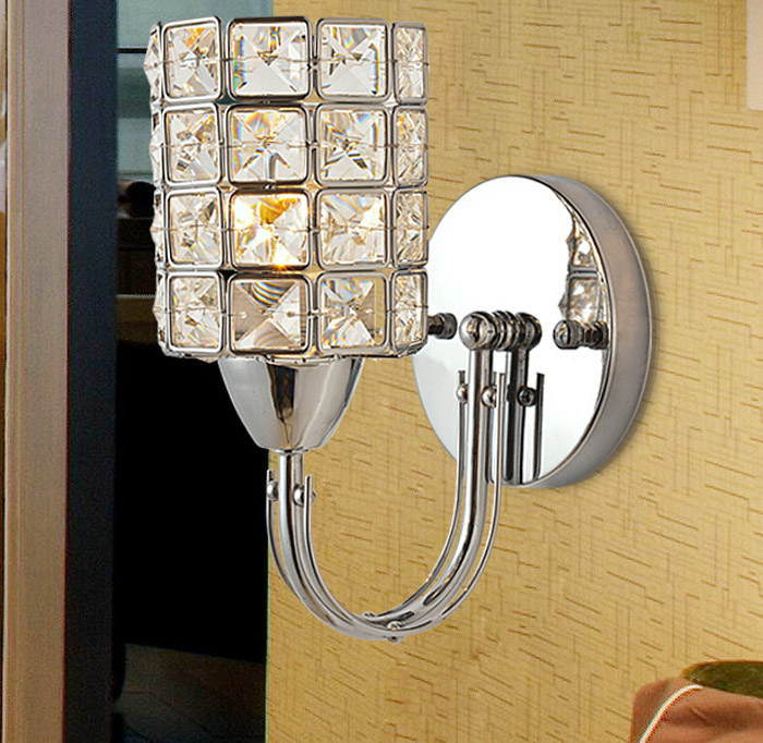 Modern Silver K9 Crystal E14 LED Light Wall Lamp for Living Room Dinning Room Bedroom Bedside Corridor wall lamps lighting modern fashion creative k9 crystal wifi design led 9w wall lamp for living room bedroom aisle corridor bathroom 80 265v 2063