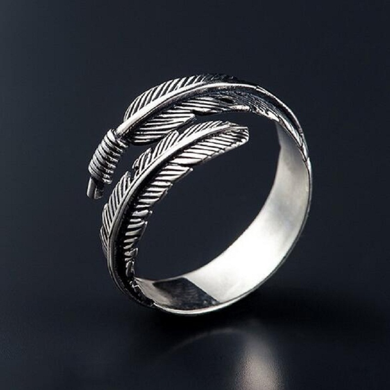 Vintage feather arrow opening rings for women thai silver for Jewelry storm arrow ring
