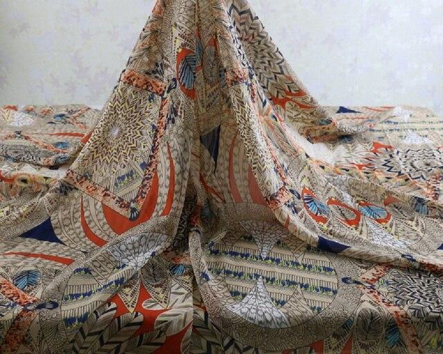 Afrikanischen stil vintage muster weichen chiffon stoff für kleid ...