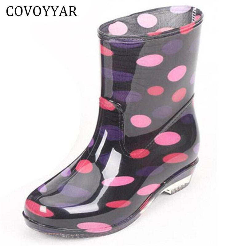 COVOYYAR Rain Boots 2018 Colorful Spot Ankle Rubber Boots Fashion Waterproof Rainboot Slip-Resistant Water Women Shoes WBS551 alluring low cut long sleeve shirred dress