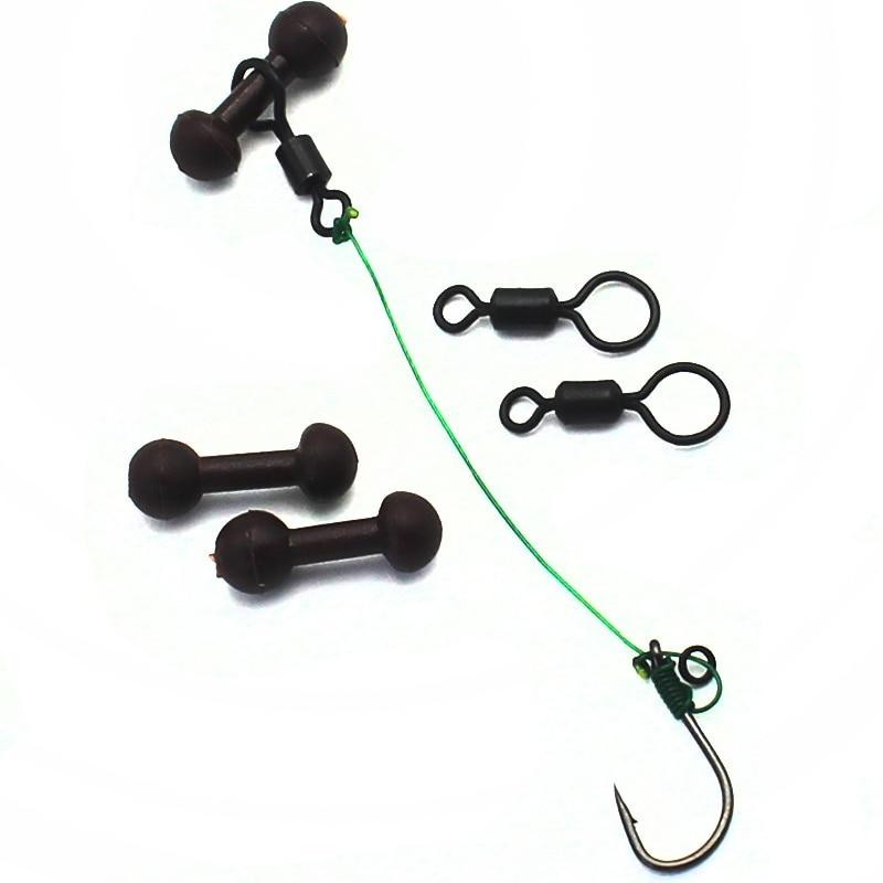 5pc Carp Fishing Hook Link Ready Made Hair Combi Rig Teflon Hook-Ready