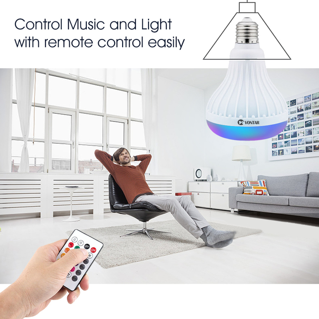 VONTAR E27 B22 Wireless Bluetooth Speaker+12W RGB Bulb LED Lamp 110V 220V Smart Led Light Music Player Audio with Remote Control 3