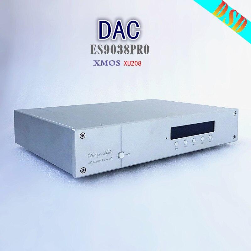 2018 Breeze Audio ES9038PRO XMOS XU208 decoder with remote control support USB coaxial optical fiber balance input support DSD breeze audio dsd usb dac es9018k2m xmos u8 op275 2 lm49860 class a earphone decoder i2s dsd usb audio amplifier amp