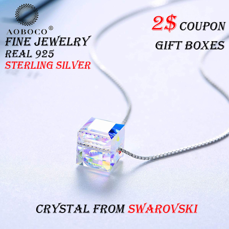 AOBOCO Brand Plain Aurora Cube Pendent Choker Necklace Crystal From Swarovski With Gift Boxes For Women Girl Friend in Necklaces from Jewelry Accessories