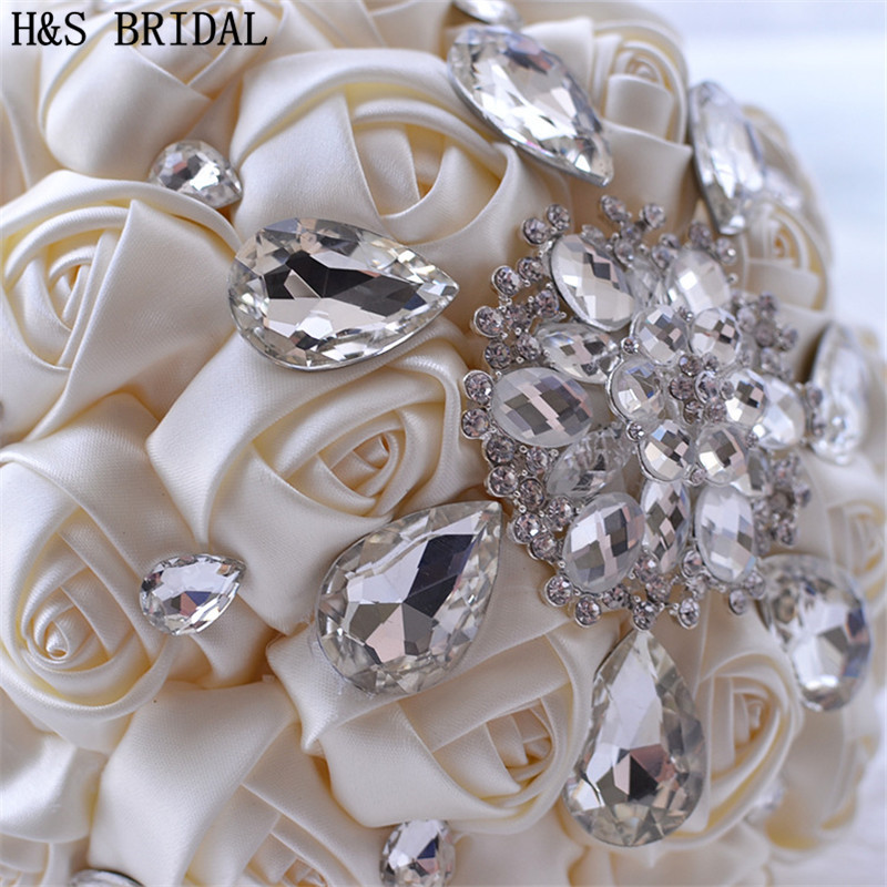 H S BRIDAL Ivory White Crystal Satin Wedding Bouquet Green Blue bouquet de mariage Red Rose wedding flowers bridal bouquets 2019 in Wedding Bouquets from Weddings Events
