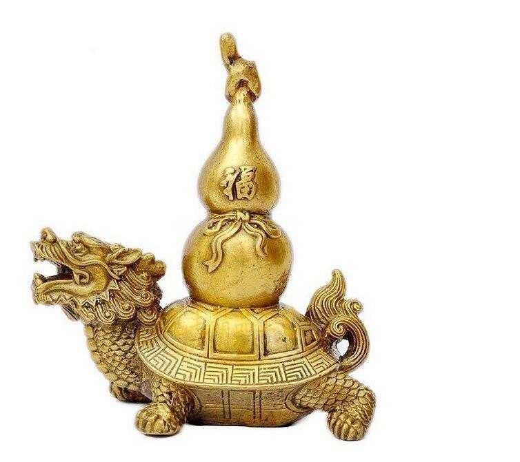 Support en cuivre ornements de dragon bénédiction devant les tortues de bonne augure protection de la richesse.