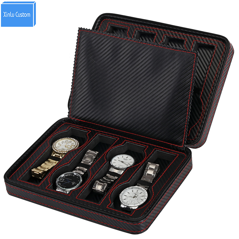 2018 New Gift Portable Zippered Protect 8 Grids Leather Watch Box&Case Watch Bag Storage Case Organizer caja boite pour montre portable pp1440 cd zippered bag black page 6