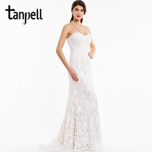 Tanpell long ivory evening dress cheap women sweetheart sleeveless lace floor length a line gown party formal evening dresses