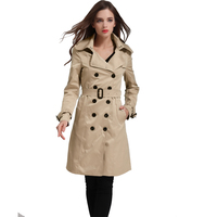 British Style 2016 Autumn Slim Fitting Trench Coat For Women Casacos Femininos Double Button Full Sleeve