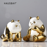 Golden Panda Lucky Ornaments Living Room Wine Cabinet Decorating Sculpture Souvenir Children's Gift Ceramic Panda Statue 05528