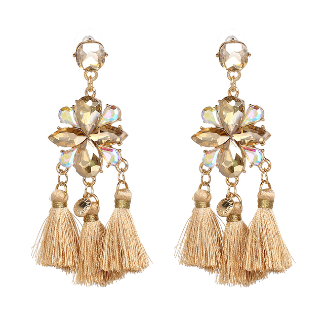 3 Colors High Quality Trending Statement Jewelry Three Tel Drops Earring Crystal Dangle For Women