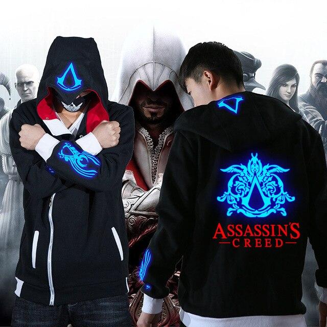 Assassins Creed Black Flag Unity Odyssey Cosplay Zipper Hoodie Luminous Fleece Velvet Jacket Coat Clothing 4