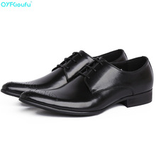 QYFCIOUFU Italian Spring Autumn Men Formal Wedding Shoes Genuine Cow Leather Buckle Party Pointy Shoes Man Lace-up Dress Shoes